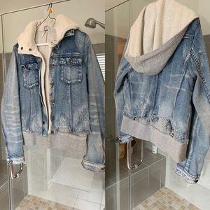 Free people hooded jean jacket size M